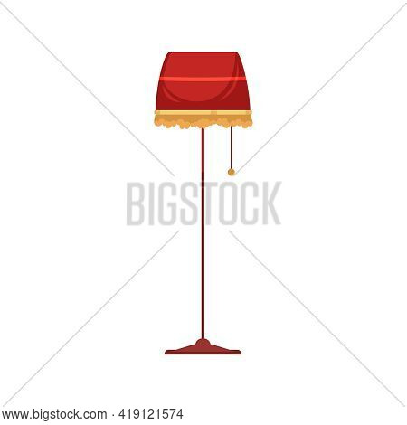 Old Library Interior Composition With Isolated Image Of Vintage Lamp On Stand Vector Illustration