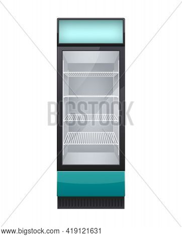 Commercial Glass Door Drink Fridge Realistic Composition With Isolated Image Of Cabinet Fridge Vecto