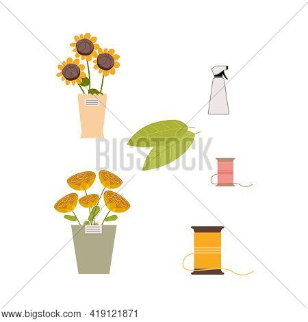 Floristics Flat Composition With Isolated Image Of Flower Pots And Stitching On Blank Background Vec