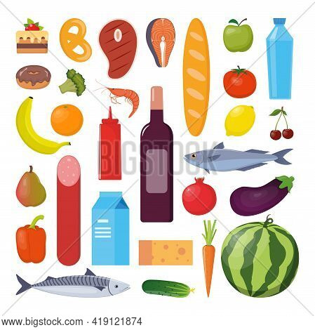 Grocery Set. Milk, Vegetables, Meat, Bread, Cheese, Sausages, Wine Fruits Fish Cereal Juice Vector I