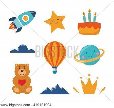 Cute Kids Decorative Elements: Rocket, Star, Planet, Teddy Bear, Cloud, Cake, Aerostat. Cartoon Illu