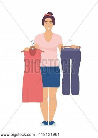 Smiling Young Woman Holding Hangers With Trousers And Dress. Choosing Clothes Concept. Vector Illust