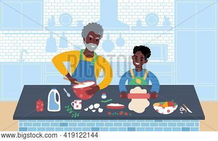 Grandfather And Grandson Preparing Meal Together. Flat Style Vector Illustration