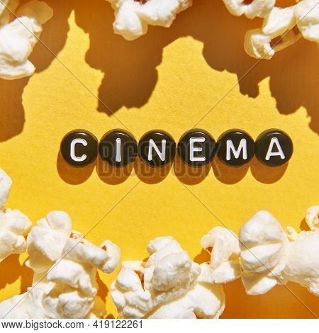 Popcorn Quote Design. Typography Concept. Creative Text Wallpaper. Phrase Yellow Background. Cinema