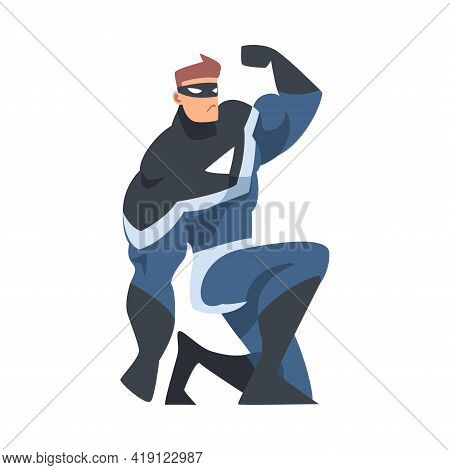 Man Superhero Sitting In Crouch, Superhero In Black And Blue Costume And Mask Cartoon Vector Illustr