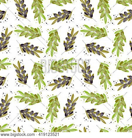 Olive Tree Branches With Green Olives And Ripe Olives. Vector Seamless Illustrations In Acarel Style