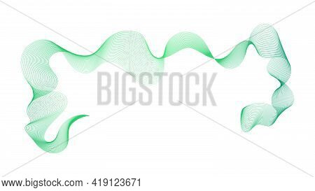 Abstract Backdrop With Green Wave Gradient Lines On White Background. Modern Technology Background,