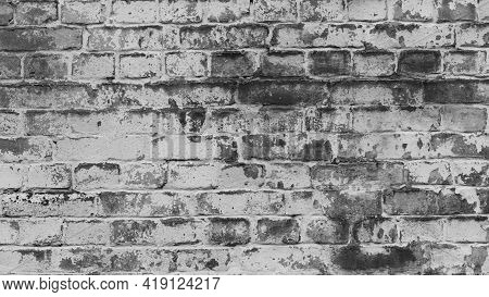 Texture, Brick, Wall, Background Facade Brick Wall Black And White. Vintage Old Brick Wall Texture.