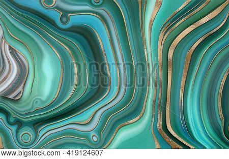 Abstract Trendy Turquoise Green Background Template. Liquid Marble Agate Abstract Design With Gold W