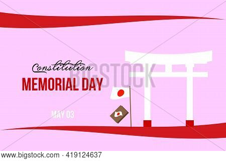 Japanese Constitution Memorial Day. Japanese Temple Gate And National Flag. Banner, Poster, Greetin