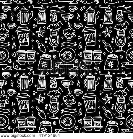 Seamless Patterns With Coffee Set - Cup, Coffee Mill , Pot On Black Chalkboard. Ideal For Printing O