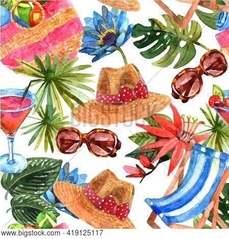 Tropical Beach Exotic Summer Vacation Travel Wallpaper Decorative  Seamless Pattern With Sunglasses