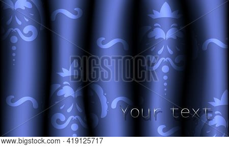 Realistic Purple Patterned Fabric Curtains. Pattern On Drapes. Vector Illustration.