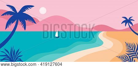 Summer Time Fun Concept Design. Creative Background Of Landscape, Panorama Of Sea And Beach On Air B