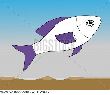 A Fish Swimming In The Sea. Blue And White Fish In The Sea. A Fish Under The Sea