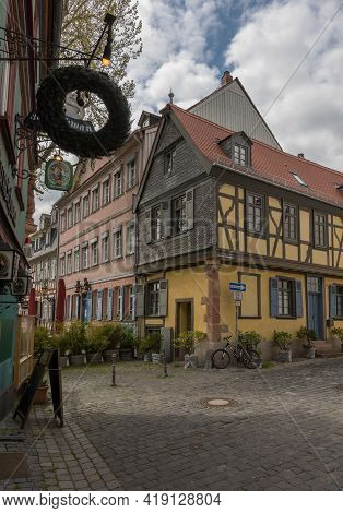 Frankfurt Am Main, Germany-may 02, 2021: Old Half-timbered Houses In The Historic Old Town Of Frankf