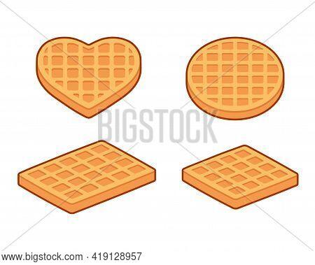 Waffle Shapes Set: Round, Square, Rectangular And Heart Shaped Waffles. Simple Cartoon Isometric Ico