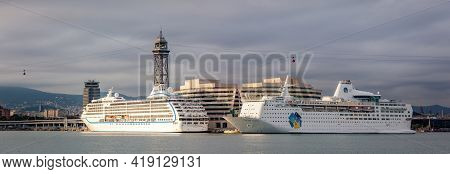 Barcelona, Spain - October 26, 2015: Seven Seas Mariner And Island Escape Cruise Ships Are Docked In