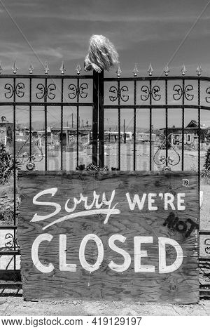 Deserted Haunted Barrier Closed Sign - Closed And Abandoned Carnival.
