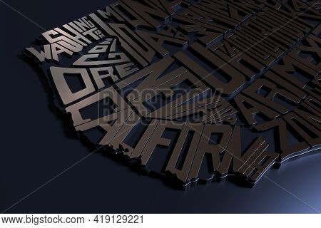 United States Of America Geography Map Lettering. 3d Render Of Usa Territory With Metal Texture. Typ