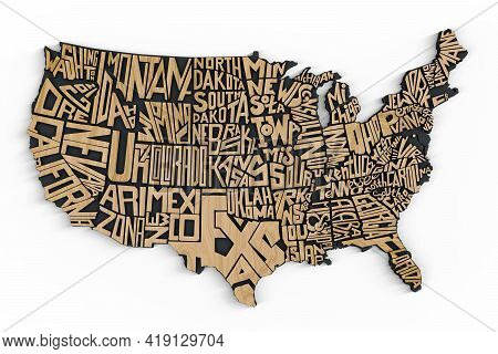 United States Of America Geography Map Lettering Isolated On White Background. 3d Render Of Usa Terr