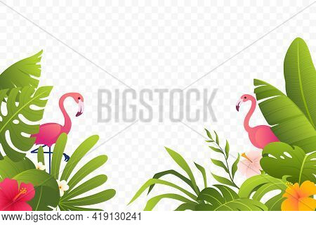 Tropical Decoration With Green Leaves, Plants, Foliage, Flowers And Flamingo. Summer Decor. Beautifu