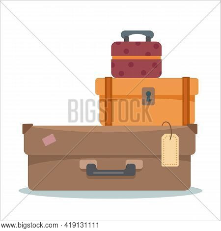 Suitcases On A White Isolated Background. In Brown Shades Of Retro. The Concept Of Vacation, Vacatio