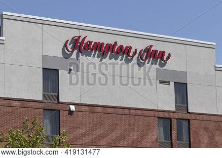 Carmel - Circa May 2021: Hampton By Hilton Property. Hampton Inn Is Part Of The Hilton Worldwide Fam