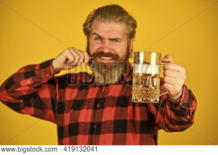 Relax And Chill. Time For Relaxation. Crafted For Party Fun. Brewer Craftsman Bearded Man Hold Beer