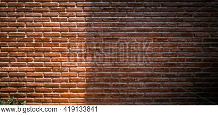 Panoramic Red Brick Wall With Beauty Lighting