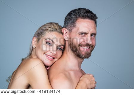 Happy Sensual Undressed Couple. Naked Woman Embrace Bare Man. Romantic Relationship