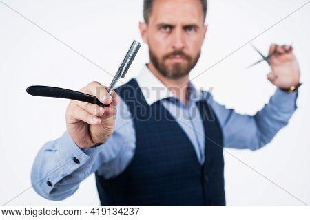 Retro Razor Blade In Hand Of Professional Hairdresser, Selective Focus, Hairdressing