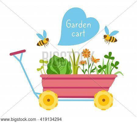 Garden Cart Cartoon With Bee Flat Cartoon Card. Wheelbarrow Tool Outdoor Activities Digging And Hear