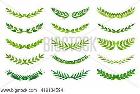 Set Of Green Semicircular Form Wreath. Floral Leaf Ornament Frame For Your Design Depicting Foliate
