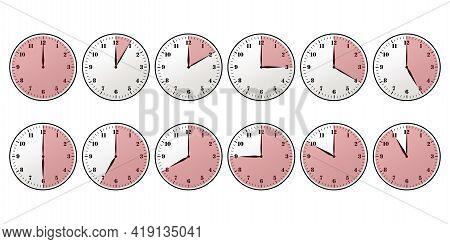 Clock Timer Set Red. Stopwatch Icon Set, Timer, Clock, Stopwatch Symbol. Vector Illustration. Eps 10