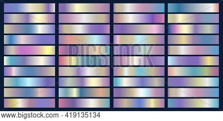 Metallic Foil Elements. Holographic Patterns, Trending Metal Gradients, Glossy Blue Aquamarine Grada
