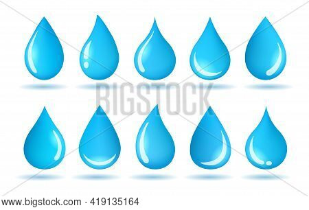 Moisture Drops Graphic. Waterly Drop Vector Icons For Logo, Color Water Droplets, Abstract Dripping