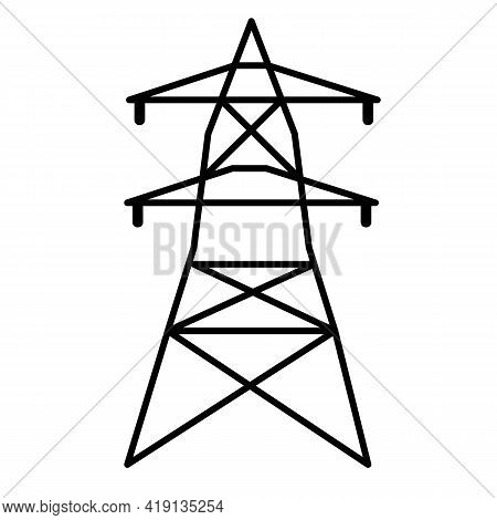 Electrical Tower Icon On White Background. Flat Style. Electricity Sign. High Voltage Electric Trans
