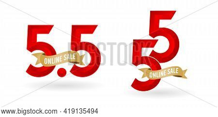 5.5 Mega Sale, 5.5 Online Sale, With Gradient Red And Golden Ribbon Applicable Poster Or Flyer Desig