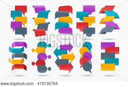 Infographic Tabs Elements. Vertical And Horizontal Vector Labels Design