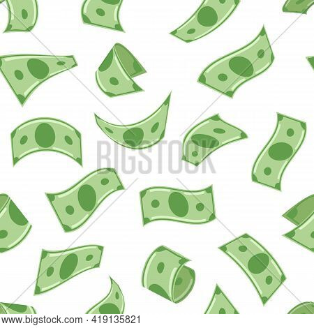 Falling Monies Dollars. Flying Money Seamless Pattern, Banknotes In Air, Usd Moneys Isolated On Whit