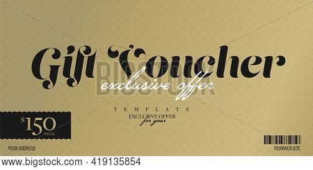 Gift Voucher With Exclusive Personal Value Discount Offer. Luxury Festive Gold Pattern Template For