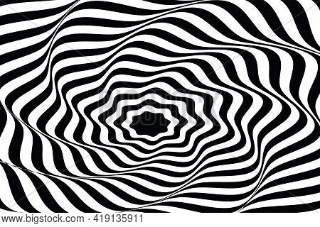 Wavy Lines. Twisted Duotone Backgrounds. Abstract Pattern From Lines, Halftone Effect. Black And Whi