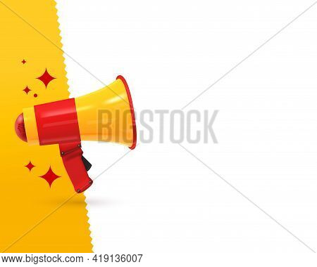Advertising Blank Banner Template With Realistic Bullhorn. Poster With Megaphone Design With Copy Sp