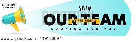 Header Banner Template With Company Job Recruitment Design. Megaphone Loudspeaker Announcing Vacant