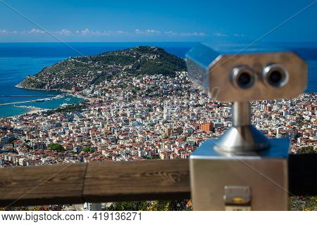 Panoramic View From The Mountain To The Resort Town With A Hill And Sea Coast Coin Operated Binocula