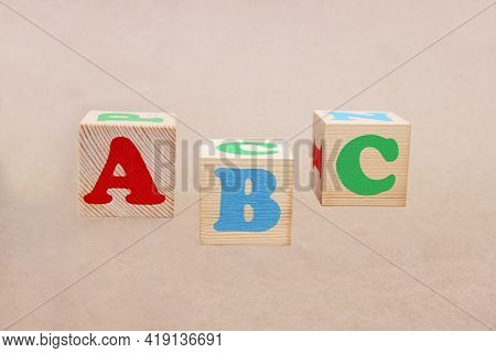English Abc Alphabet Letters On Wooden Toy Blocks.