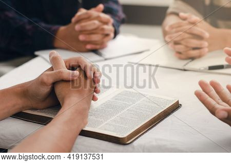 Christians Gather Sit And Pray For Blessings From God. With Faith And Faith