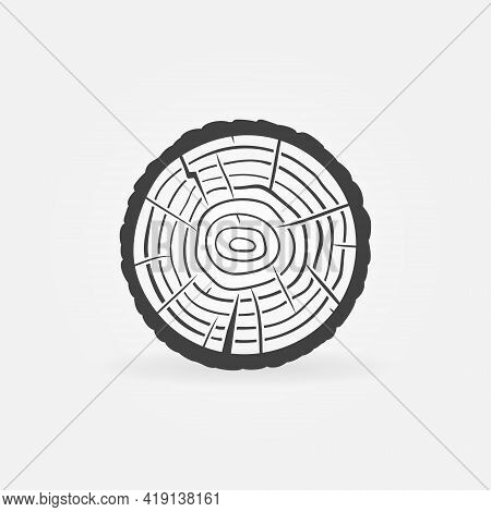 Trunk Cross Section With Tree Rings Vector Wood Icon