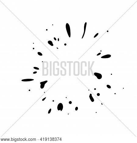 Dripping Inkblot Frame. Splattering Liquid Stains Isolated In White Background. Vector Illustration